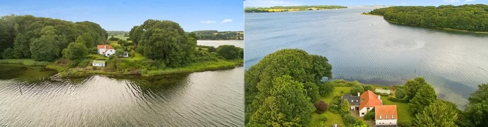 Landvilla egen strand og bådebro